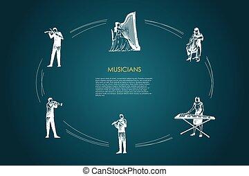 Musicians - violinist, harpist, cellist, xylophone player, flutist, bassoonist vector concept set. Hand drawn sketch isolated illustration