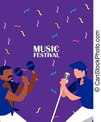 Musicians with instruments vector design