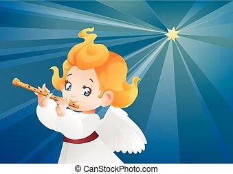 musicien, ange, flûtiste, voler, ciel, flutis, nuit,...