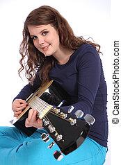 musicien, guitare, adolescent, acoustique, girl, jouer
