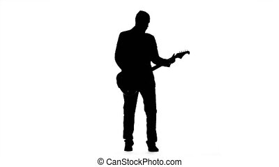 musicien, jeux, a, tranquille, mélodie, sur, les, guitar., silhouette., studio