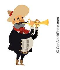 musicien, mariachi, icône