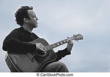 musicien, profil, mûrir