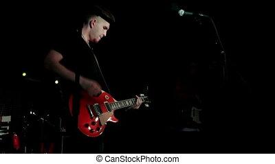 musicien, rouges, jeu guitare