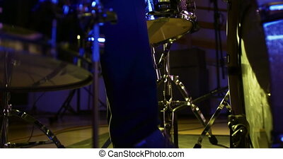 musicien, tambours, musique, jouer, studio