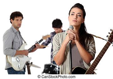 musiciens, groupe, jeune