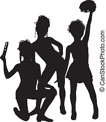 musiciens, silhouette, enfants