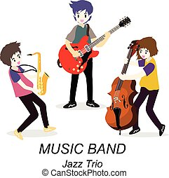 musiciens, style, guitare, illustration, jazz, saxophone., guitariste, bassist, isolé, fond, trio, vecteur, dessin animé, band., solo