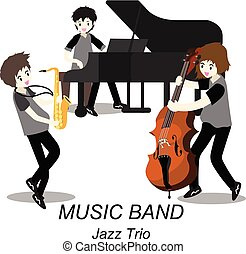 musiciens, style, illustration, jazz, isolé, fond, trio, .jazz, vecteur, dessin animé, bassist, band., saxophone