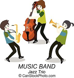 musiciens, style, , illustration, jazz, saxophone., isolé, bassist, fond, trio, vecteur, trompette, dessin animé, band.