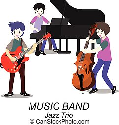 musiciens, style, jeu, trio, guitare, piano., illustration, jazz, isolé, fond, bassist, vecteur, dessin animé, band.