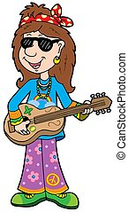 musicista, cartone animato, hippie