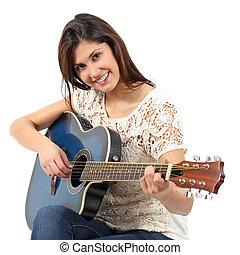 musicista, donna, chitarra esegue, in, uno, corso