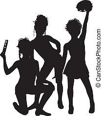 musicisti, silhouette, bambini