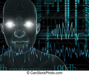 music,level,decibel - illustration of 3d face with...