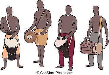 musicus, set, afrikaan