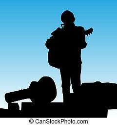 musicus, spelend, toneel