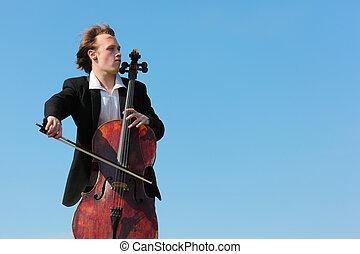 musicus, violoncello, hemel, tegen, toneelstukken