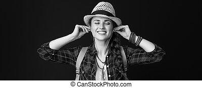 musik, abenteuer, wanderer, pc, frau, entspanntes, tablette, zuhören