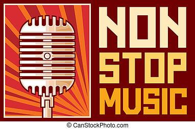 musik, affisch, (microphone)