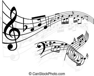 musik antecknar, bakgrund
