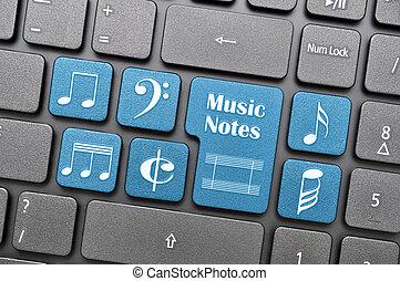 musik antecknar, på, tangentbord