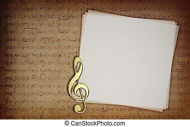 musik antecknar, på, tyg, struktur, bakgrund, med,...