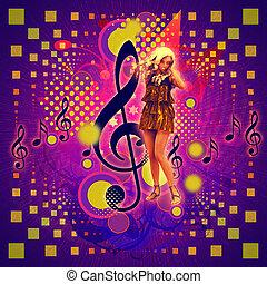 musik, bakgrund, med, flicka