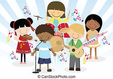 musik band, i, fire, liden, børn