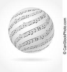 musik, begrepp, design