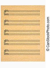 musik blad, nyckel, av, a