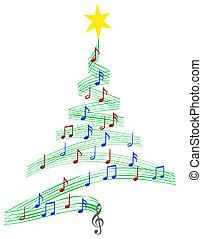 musik, carol, träd, jul