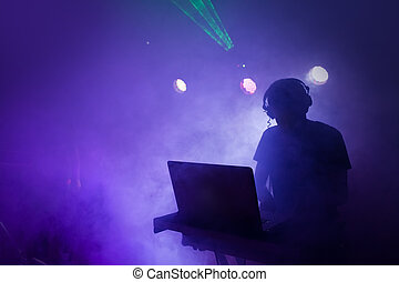 musik, dj, mischung, an, nachtclub