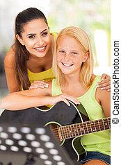 musik, elev, lärare, henne, vänskapsmatch