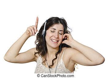 musik, fächer, woman.