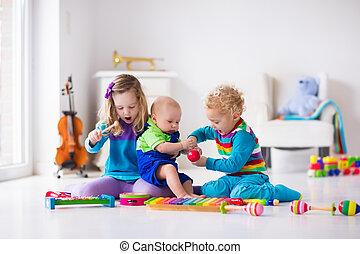 musik, för, lurar, barn, med, instrument