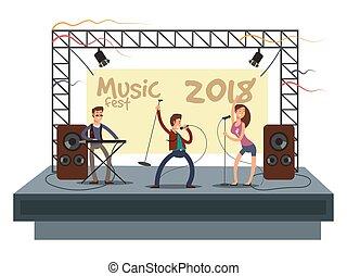 musik, fest, concert, mit, schräge musik, band, spielende ,...