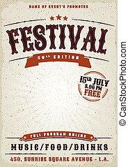 musik, festival, grunge, affisch
