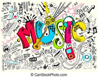 musik, gekritzel