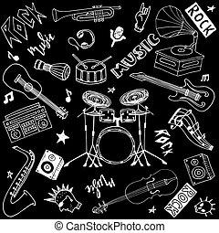musik, gestein, musikalisches, gekritzel, gezeichnet, hand, knall, freigestellt, satz, thema, instrumente, schwarzer hintergrund, theme.