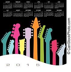 musik, gitarr, kalender, 2015