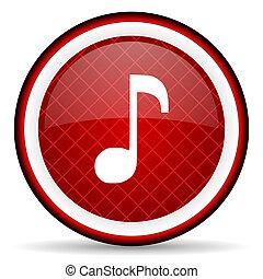 musik, glatt, bakgrund, vit röd, ikon