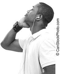 musik, junger, zuhören, mann