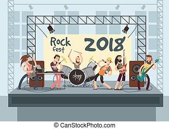 musik, leistung, bühne, mit, junger, musicians., felsen-...