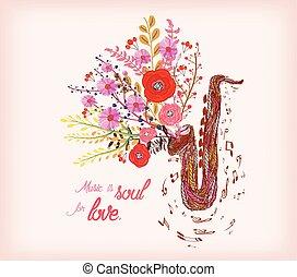 musik, love., saxofon, själ