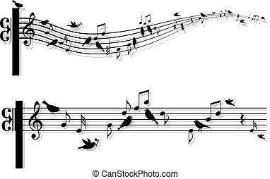 musik merkt, vektor, vögel