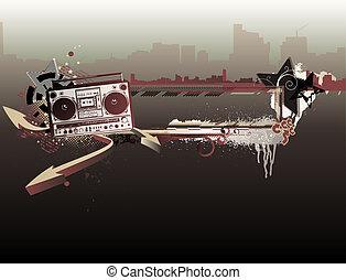 musik, ramme, urban