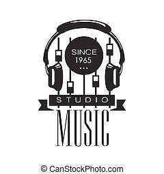 musik, rekord, studio, svartvitt, logo, mall, med, låta...