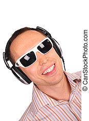 musik, sonnenbrille, mann