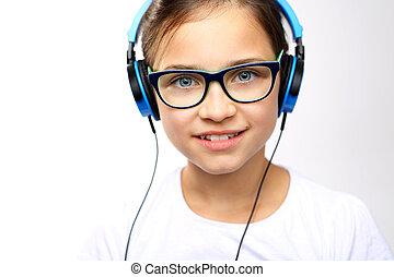 musik, teenager, hört